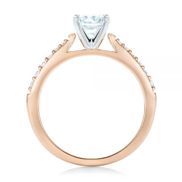14k Rose Gold And 14K Gold Diamond Engagement Ring - Front View -