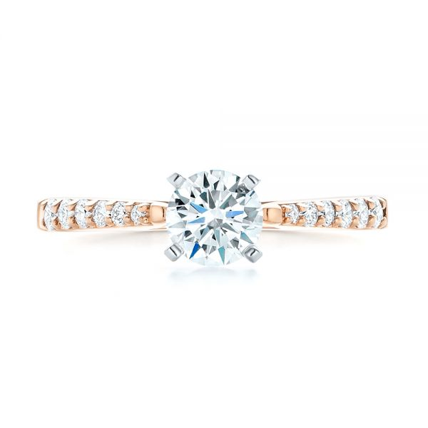 14k Rose Gold And 14K Gold Diamond Engagement Ring - Top View -