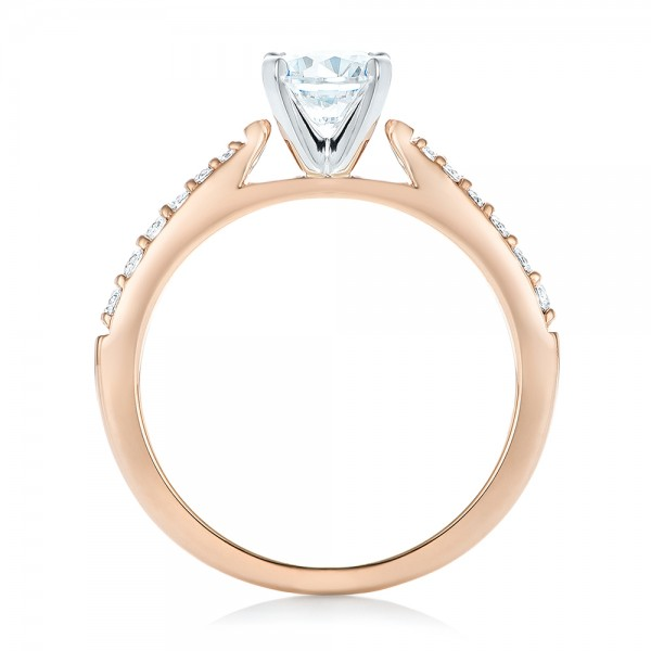 Rose Gold and Diamond Engagement Ring - Finger Through View