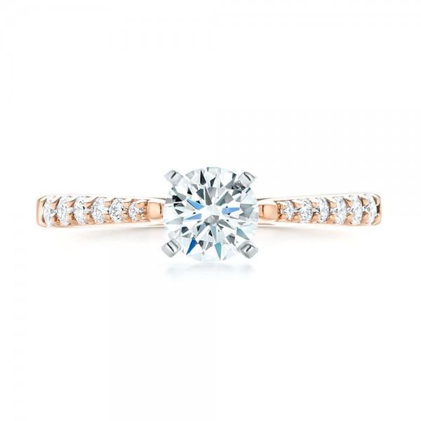 Rose Gold and Diamond Engagement Ring - Top View