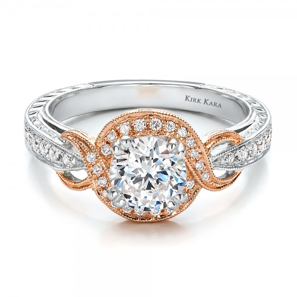 Two-Tone Gold, Diamond and Hand Engraved Engagement Ring - Kirk Kara