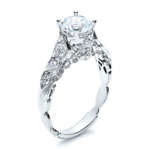 Round Side Stone Diamond Engagement Ring - Vanna K