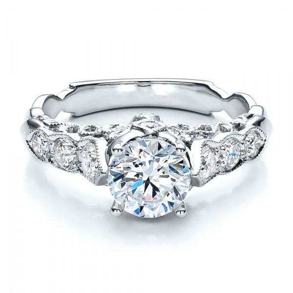 Round Side Stone Diamond Engagement Ring - Vanna K - Laying View