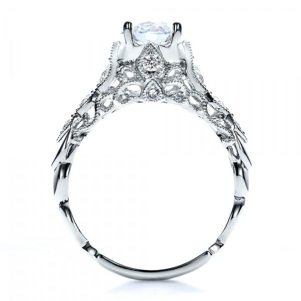 Round Side Stone Diamond Engagement Ring - Vanna K - Finger Through View