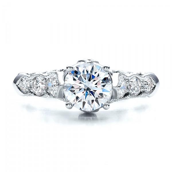 Round Side Stone Diamond Engagement Ring - Vanna K - Top View