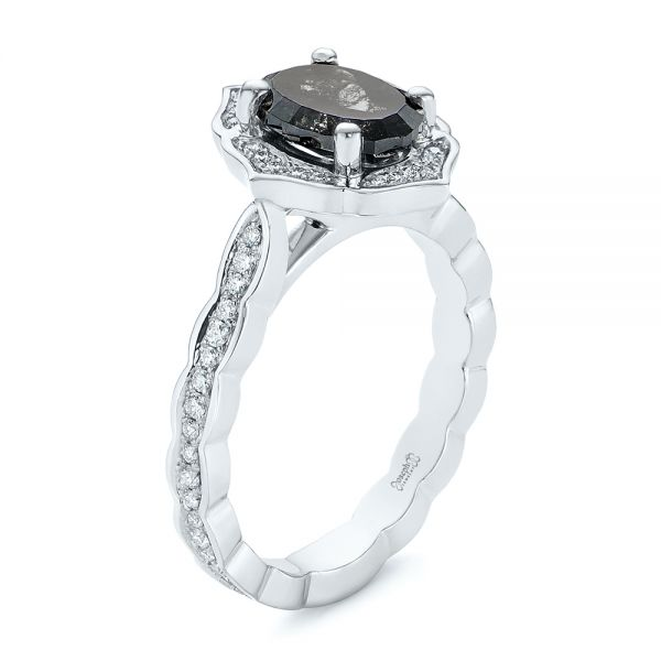 Salt and Pepper Diamond Modified Halo Engagement Ring - Image