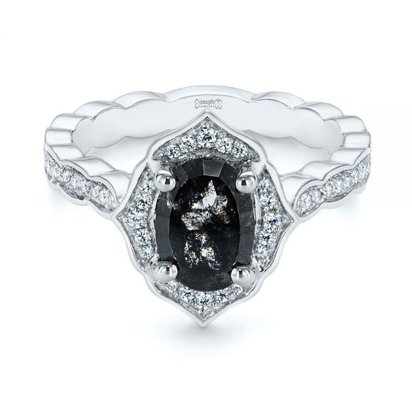 Salt and Pepper Diamond Modified Halo Engagement Ring