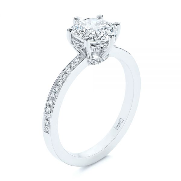 14k White Gold Six-prong Classic Diamond Engagement Ring - Three-Quarter View -
