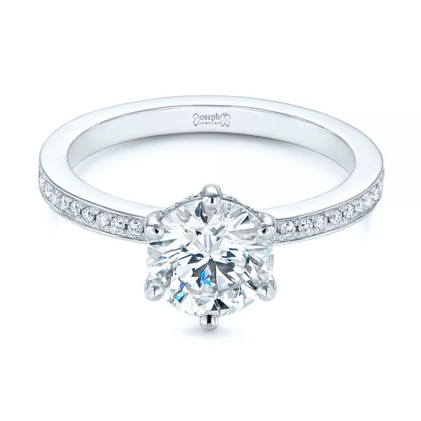14k White Gold Six-prong Classic Diamond Engagement Ring - Flat View -