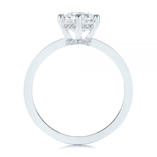 14k White Gold Six-prong Classic Diamond Engagement Ring - Front View -  105766 - Thumbnail