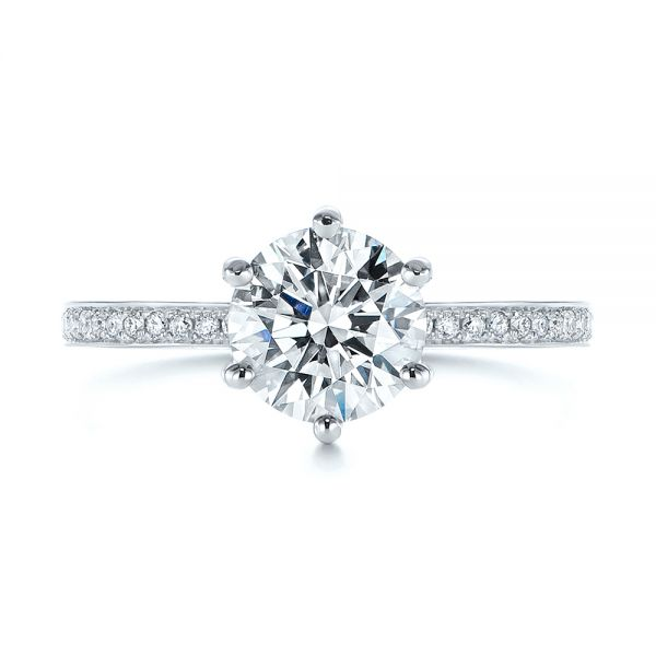 14k White Gold Six-prong Classic Diamond Engagement Ring - Top View -  105766 - Thumbnail