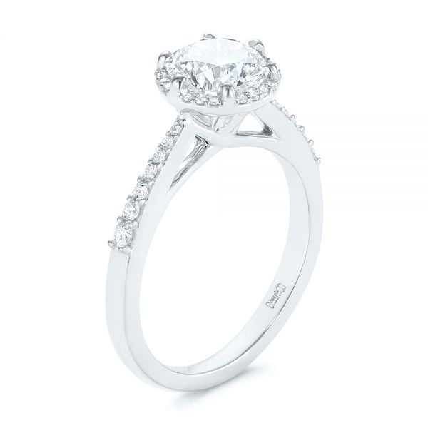 Six Prong Delicate Halo Diamond Engagement Ring - Image