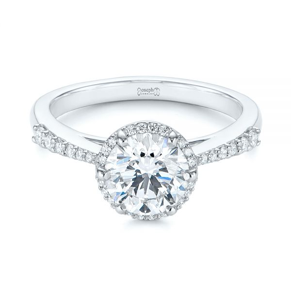 Six Prong Delicate Halo Diamond Engagement Ring