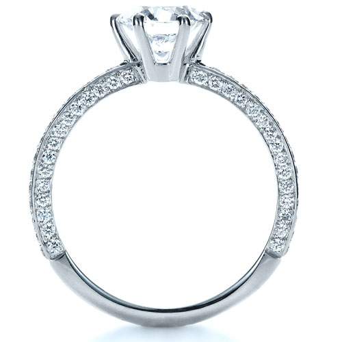 Six Prong Diamond Engagement Ring - Finger Through View