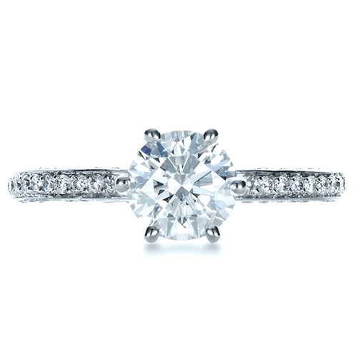 Six Prong Diamond Engagement Ring - Top View