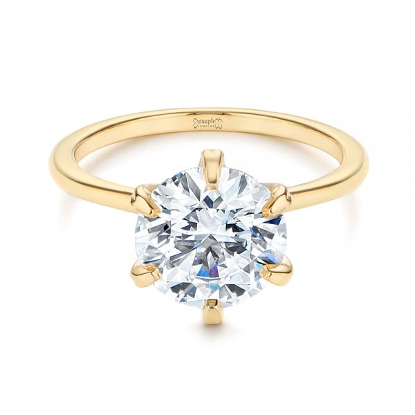 14k Yellow Gold Six Prong Solitaire Diamond Engagement Ring - Flat View -  105866