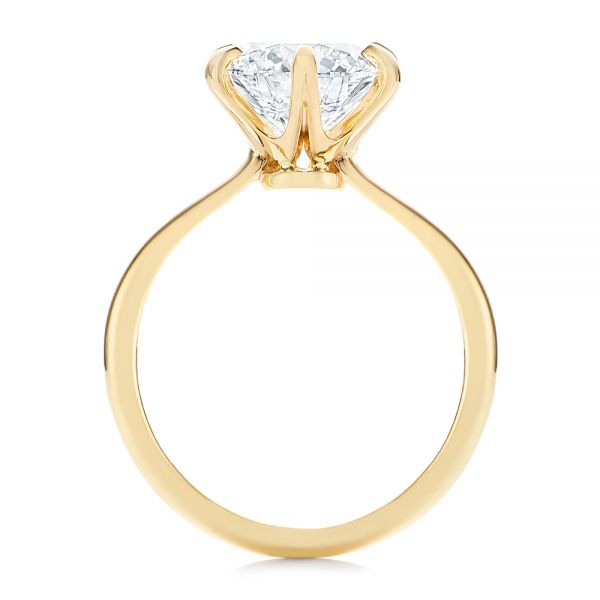 14k Yellow Gold Six Prong Solitaire Diamond Engagement Ring - Front View -  105866