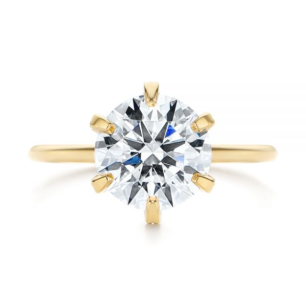 14k Yellow Gold Six Prong Solitaire Diamond Engagement Ring - Top View -  105866