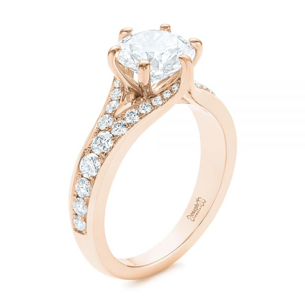 14k Rose Gold 14k Rose Gold Six Prong Tapered Diamond Engagement Ring - Three-Quarter View -  104873 - Thumbnail
