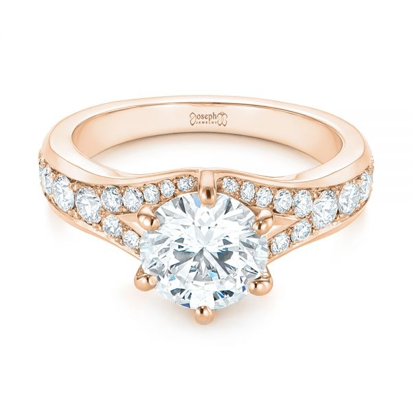 14k Rose Gold 14k Rose Gold Six Prong Tapered Diamond Engagement Ring - Flat View -  104873