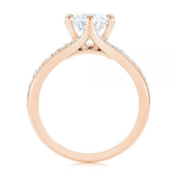 14k Rose Gold 14k Rose Gold Six Prong Tapered Diamond Engagement Ring - Front View -  104873 - Thumbnail