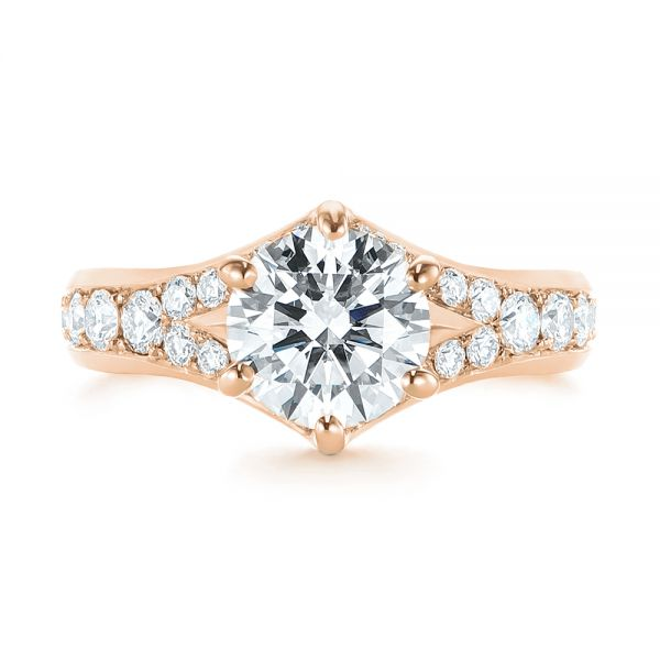 14k Rose Gold 14k Rose Gold Six Prong Tapered Diamond Engagement Ring - Top View -  104873 - Thumbnail