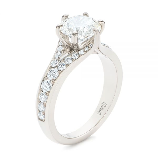 18k White Gold Six Prong Tapered Diamond Engagement Ring - Three-Quarter View -