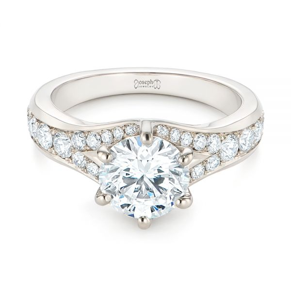 18k White Gold Six Prong Tapered Diamond Engagement Ring - Flat View -  104873 - Thumbnail