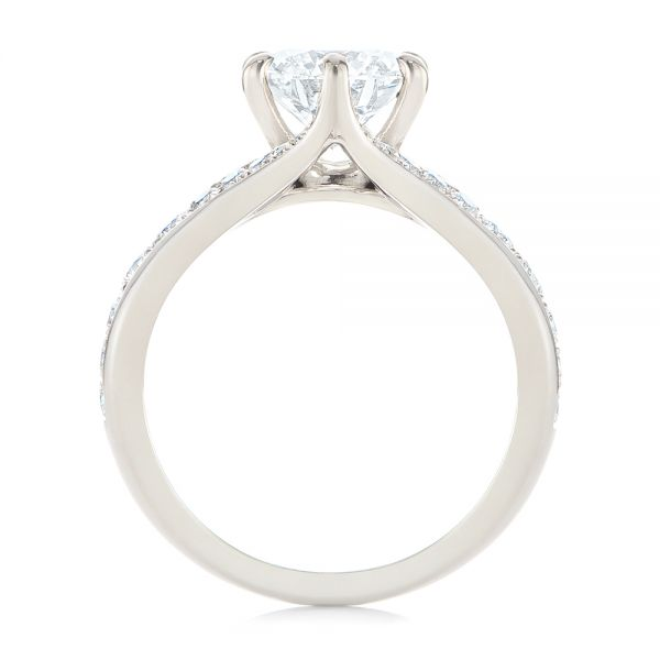 18k White Gold Six Prong Tapered Diamond Engagement Ring - Front View -  104873 - Thumbnail