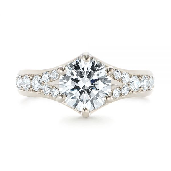 18k White Gold Six Prong Tapered Diamond Engagement Ring - Top View -  104873 - Thumbnail