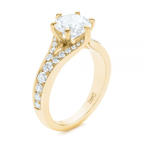 4bd99ae6aed2b 14K Yellow Gold Six Prong Tapered Diamond Engagement Ring - Three-Quarter  View - 104873 ...