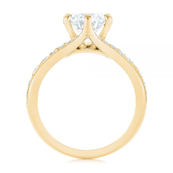 14k Yellow Gold 14k Yellow Gold Six Prong Tapered Diamond Engagement Ring - Front View -  104873 - Thumbnail