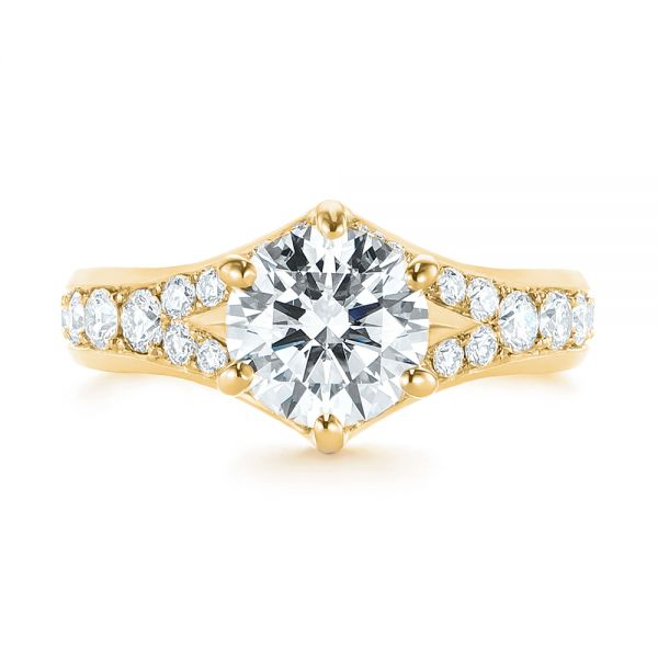 14k Yellow Gold 14k Yellow Gold Six Prong Tapered Diamond Engagement Ring - Top View -  104873 - Thumbnail