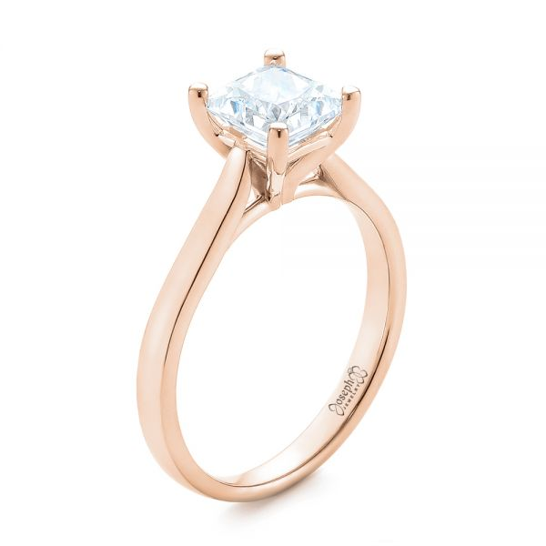 18k Rose Gold 18k Rose Gold Solitaire Diamond Engagement Ring - Three-Quarter View -  104180