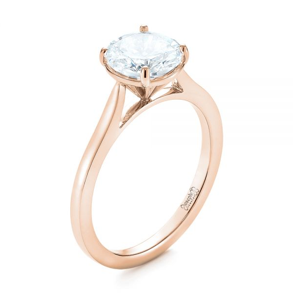 14k Rose Gold 14k Rose Gold Solitaire Diamond Engagement Ring - Three-Quarter View -  104209