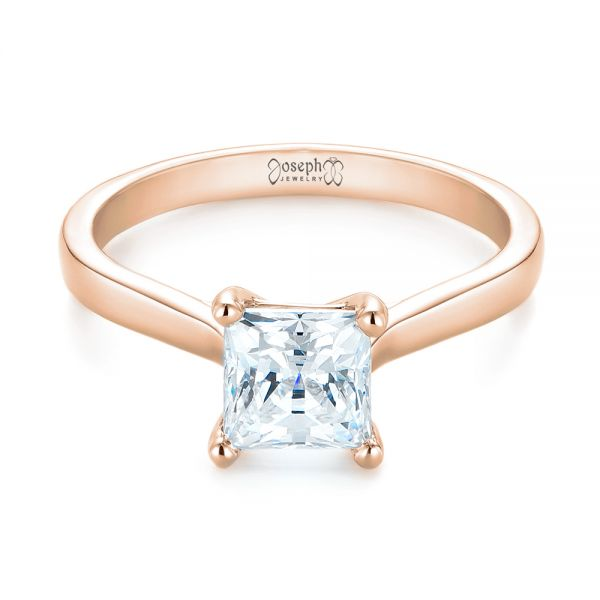 18k Rose Gold 18k Rose Gold Solitaire Diamond Engagement Ring - Flat View -  104180
