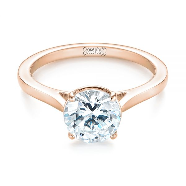14k Rose Gold 14k Rose Gold Solitaire Diamond Engagement Ring - Flat View -  104209