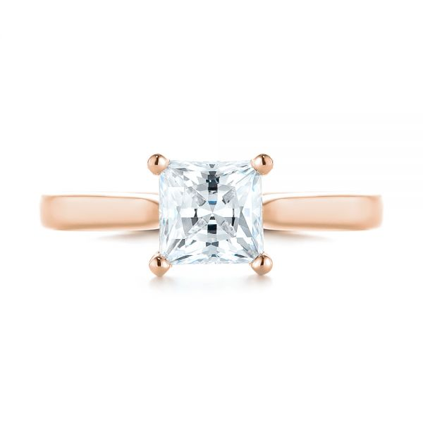 18k Rose Gold 18k Rose Gold Solitaire Diamond Engagement Ring - Top View -  104180