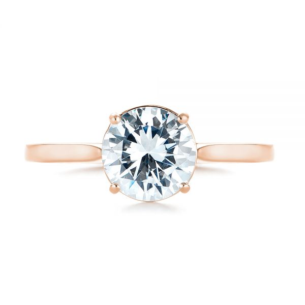 14k Rose Gold 14k Rose Gold Solitaire Diamond Engagement Ring - Top View -  104209