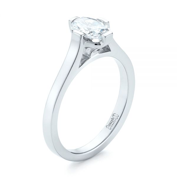 18k White Gold Solitaire Diamond Engagement Ring - Three-Quarter View -  103274