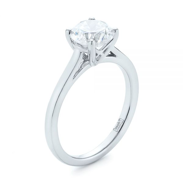 Platinum Platinum Solitaire Diamond Engagement Ring - Three-Quarter View -