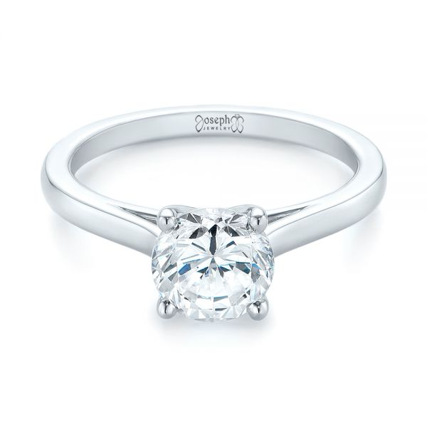 Platinum Platinum Solitaire Diamond Engagement Ring - Flat View -