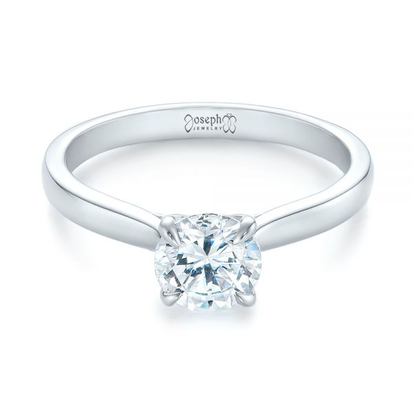 14k White Gold Solitaire Diamond Engagement Ring - Flat View -  104090