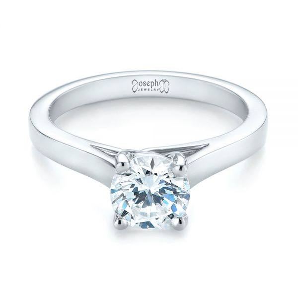 18k White Gold Solitaire Diamond Engagement Ring - Flat View -