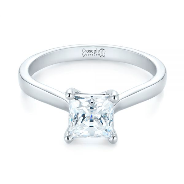 14k White Gold Solitaire Diamond Engagement Ring - Flat View -
