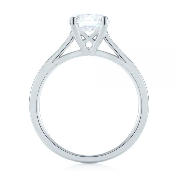 18k White Gold Solitaire Diamond Engagement Ring - Front View -