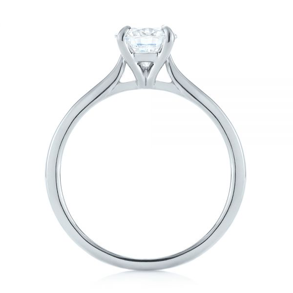 14k White Gold Solitaire Diamond Engagement Ring - Front View -  104090