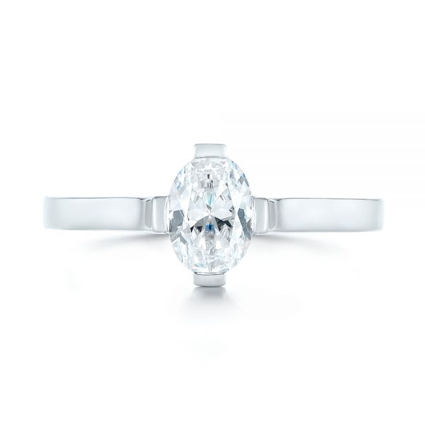 18k White Gold Solitaire Diamond Engagement Ring - Top View -  103274