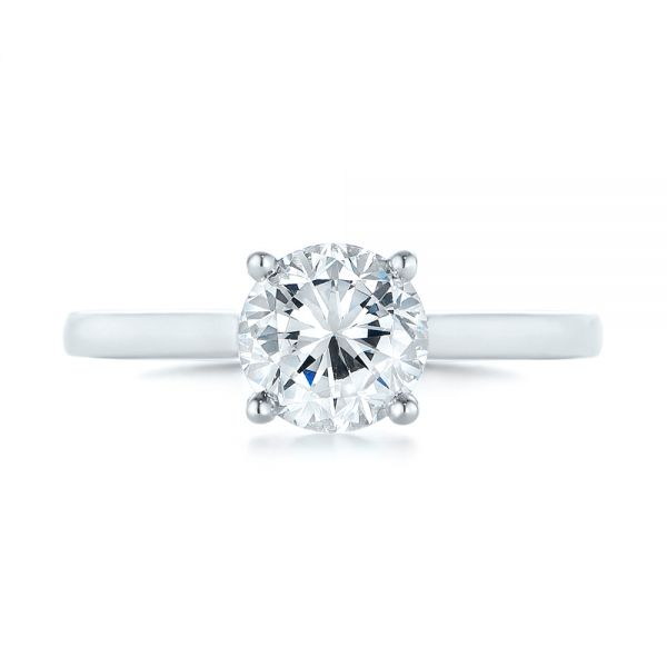 18k White Gold Solitaire Diamond Engagement Ring - Top View -
