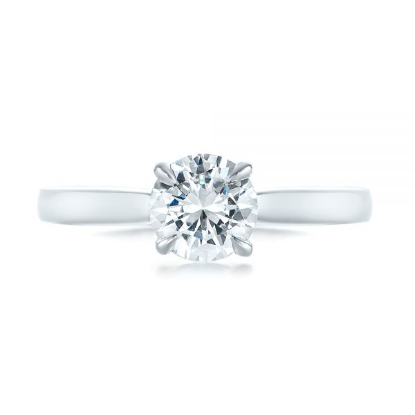 14k White Gold Solitaire Diamond Engagement Ring - Top View -  104090